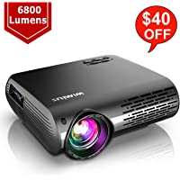 WiMiUS Newest P20 Native 1080P Projector 6800 lumens Video Projector Support 4K Dolby, ±50°Keystone Correction, Zoom Function, Compatible with PC Laptop Chromecast USB Stick Fire TV Stick Smartphones