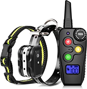 Shock Collar for Dogs Training Collar with 2800Ft Remote Control Dog Shock Collar Rechargeable w/3 Training Modes,Beep,Vibration and 0-99 Adjustable Shock Waterproof Collar for Small Medium Large Dog