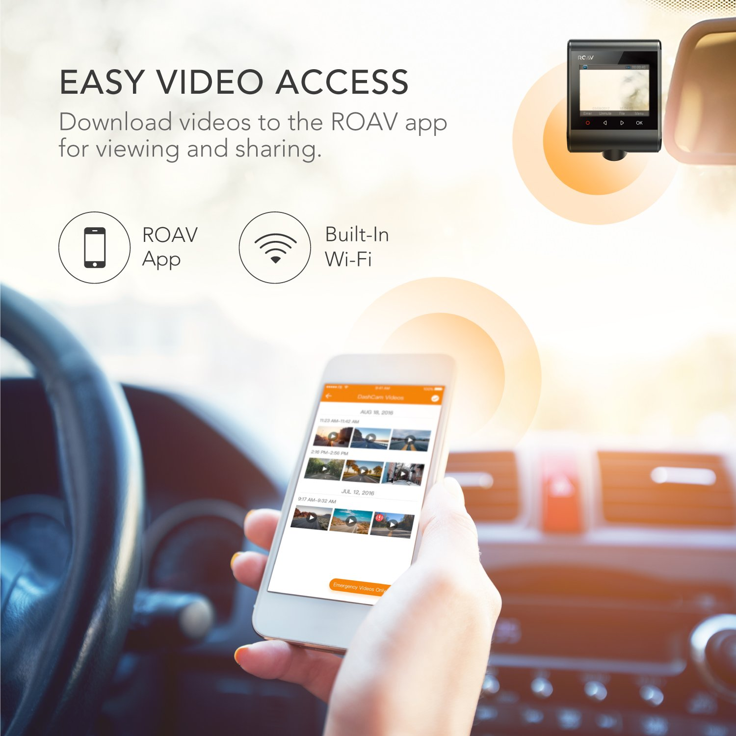ROAV by Anker Dash Cam C1, Car Recorder with Sony Sensor, 1080P FHD, 4-Lane Wide-Angle View Lens, Built-in WiFi with APP, G-Sensor, WDR, Loop Recording, Night Mode, Parking Mode [Upgraded Version] by ROAV (Image #5)