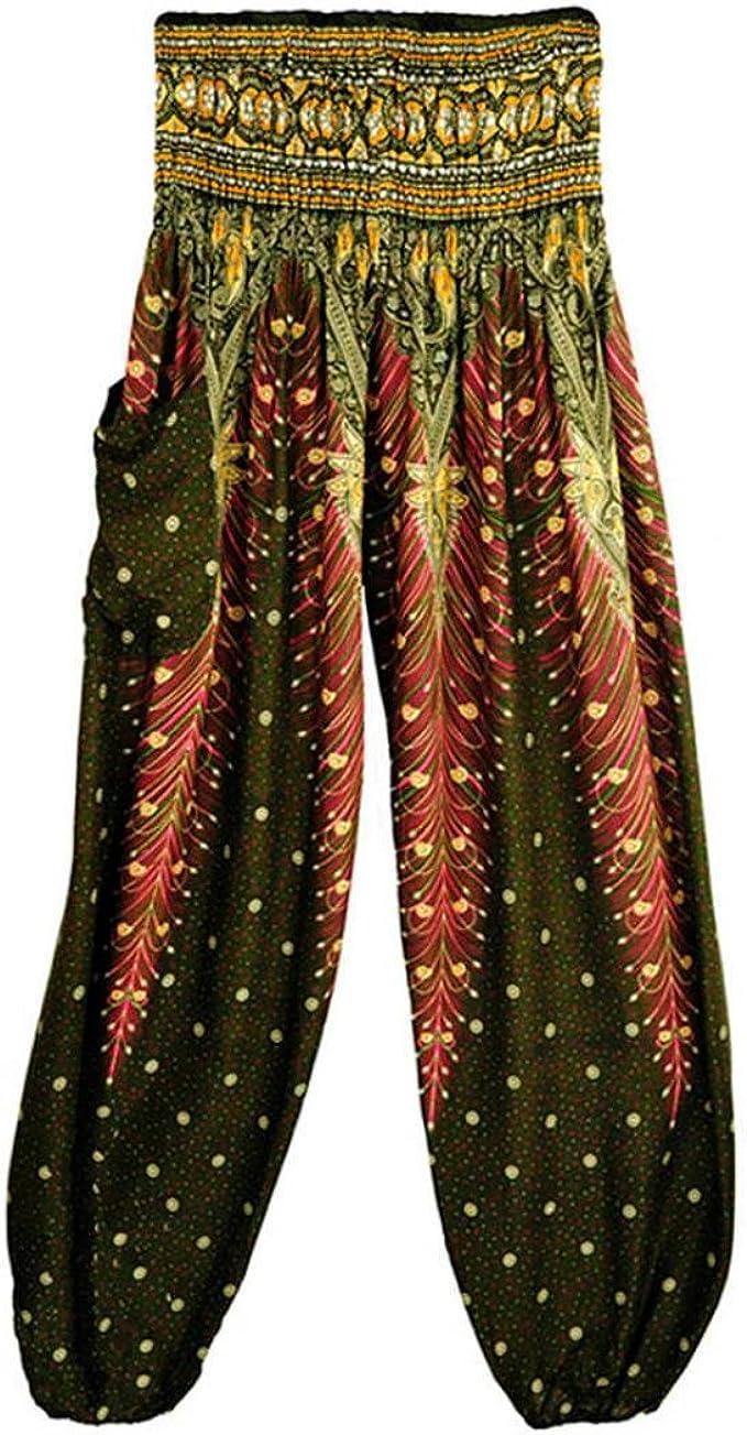 Wintialy Harem Pants Men Women Hippie Bohemian Boho Smocked Waist Peacock Eye Floral Prints Aladdin Yoga Casual Pants