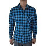SODIAL 男性のビンテージなチェック柄の長袖シャツ スリムフィット 男性の高品質シャツ M ダークブルーのチェック柄