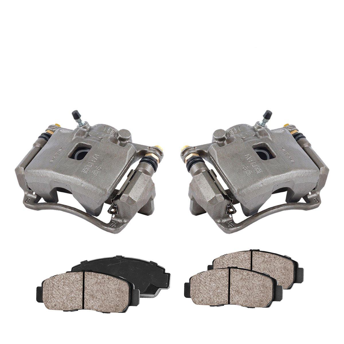 2 CCK11244 Quiet Low Dust Ceramic Brake Pads FRONT Premium Loaded OE Caliper Assembly Set