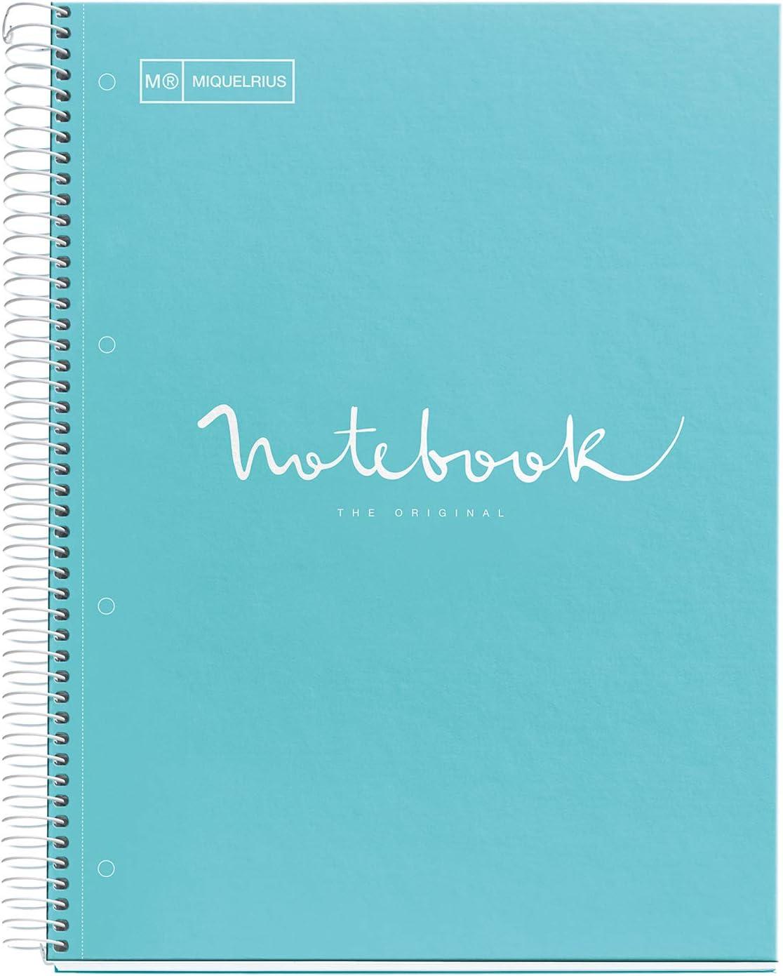 Miquelrius - Cuaderno Notebook Emotions - 1 franja de color, A4, 80 Hojas cuadriculadas 5mm, Papel 90g, 4 Taladros, Cubierta de Cartón Extraduro, Color Azul Cielo: Amazon.es: Oficina y papelería