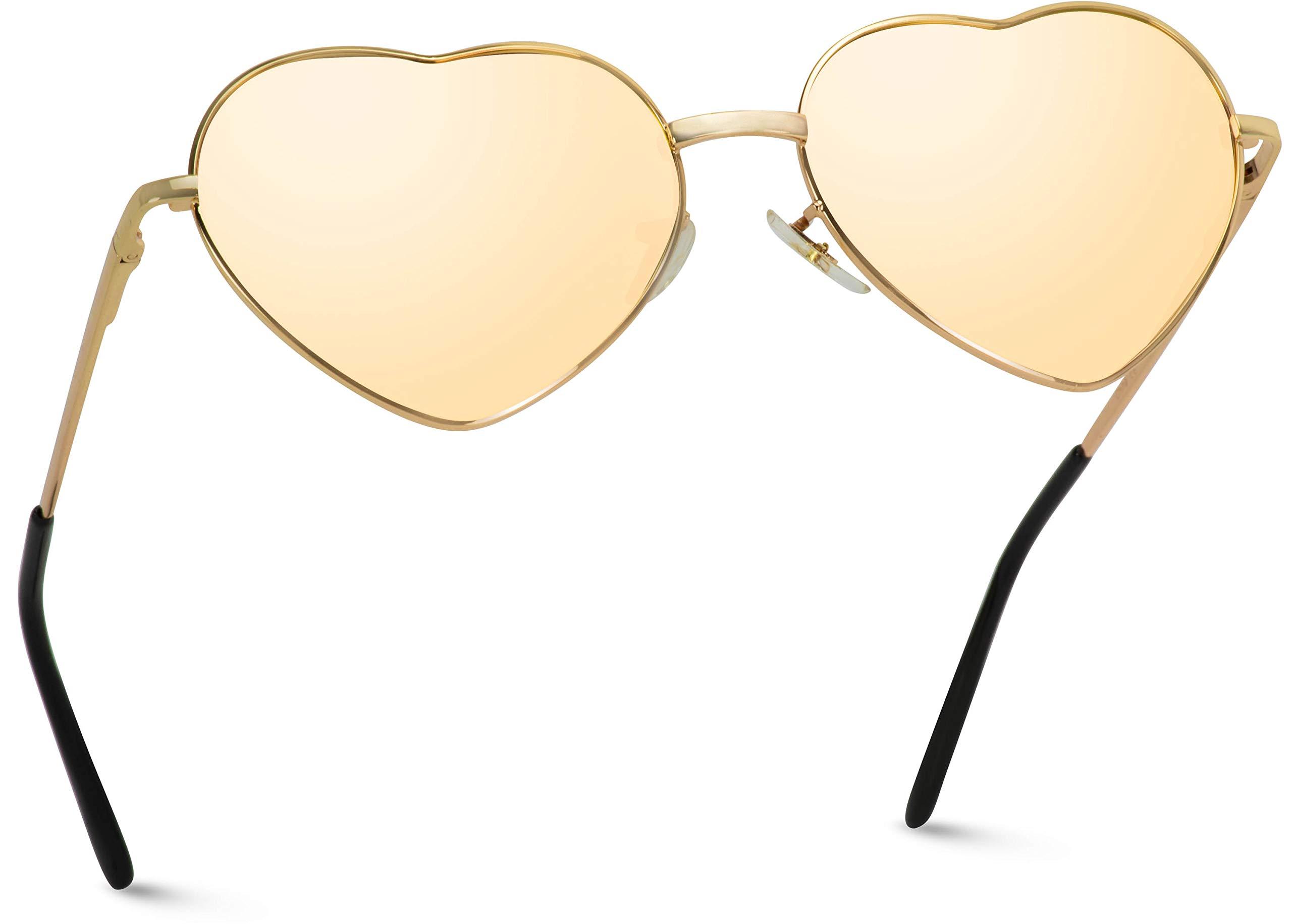 Women Metal Heart Frame Mirror Lens Cupid Heartshape Sunglasses (Mirror Pink Lens, 55) by WearMe Pro