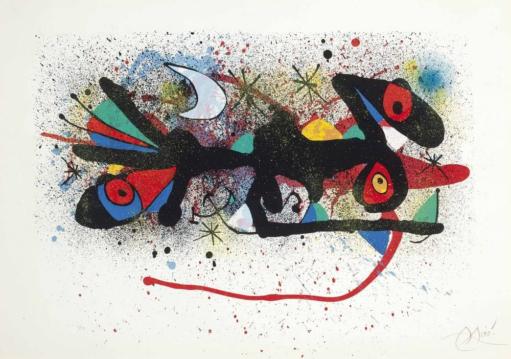 Joan Miro Persontge I Estels Giclee Canvas Print Paintings Poster Reproduction