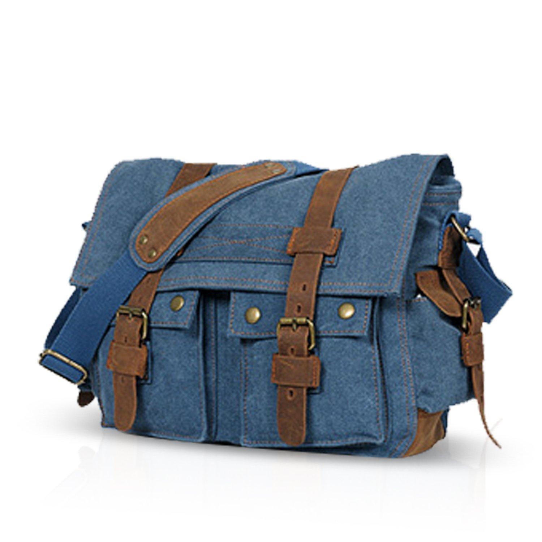 FANDARE Nuevo Bolsa Mensajero Messenger Bag Crossbody Bolso Bandolera Shoulder Bag 14 Pulgadas Port/átil Estudiante Viaje Trabajo Escuela Las Mujeres Hombre Bolso Lona Amarillo