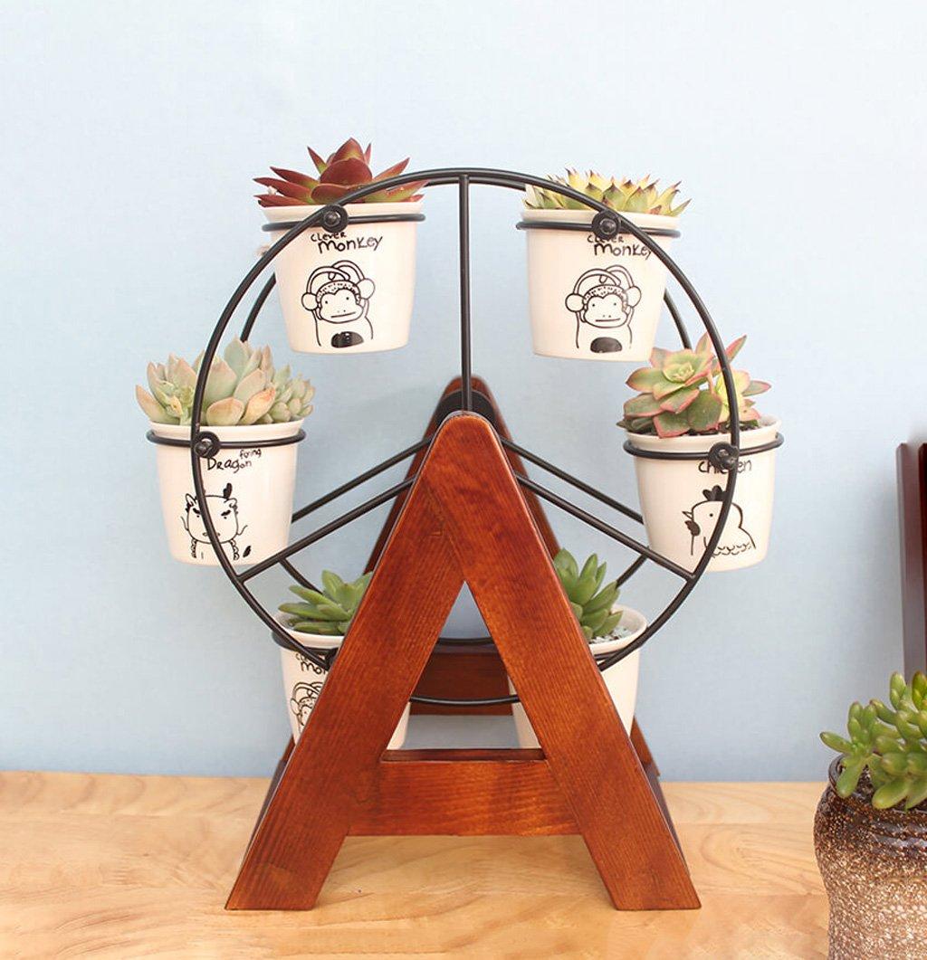 かわいいデスクトップミニフラワースタンドオフィス木製小型フラワースタンド屋内小植物フラワーディスプレイスタンド B076B3CCSP
