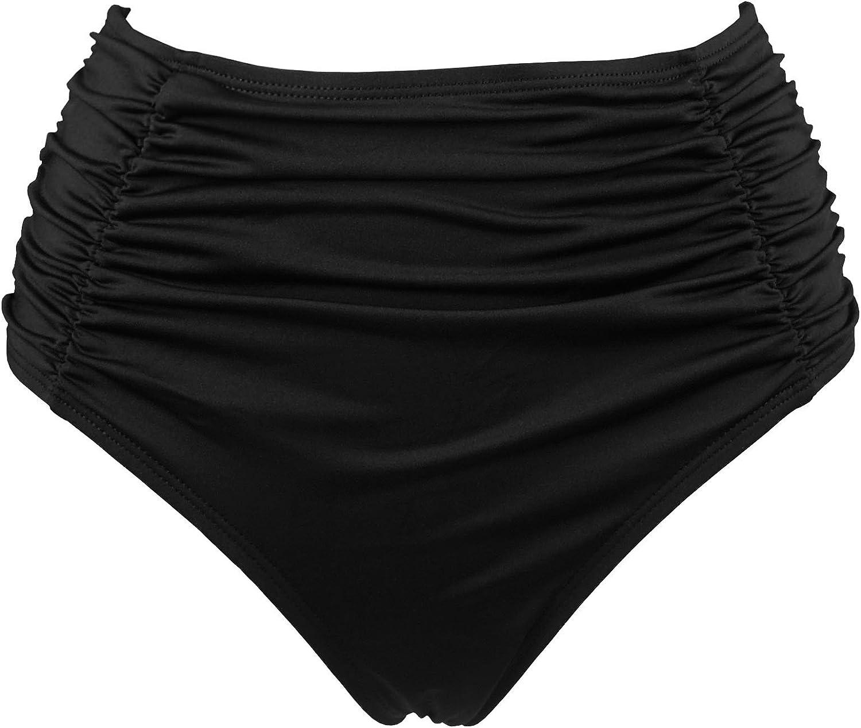 COCOSHIP Women's Black High Waisted Bikini Bottom Side Ruching Bikini Swim Brief(FBA)