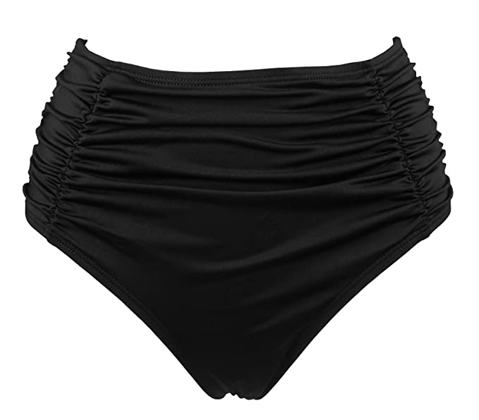 9da85c37c2 COCOSHIP Black Women's Retro High Waisted Bikini Bottom Side Ruching Bikini  Swim Brief Bathing Suit S