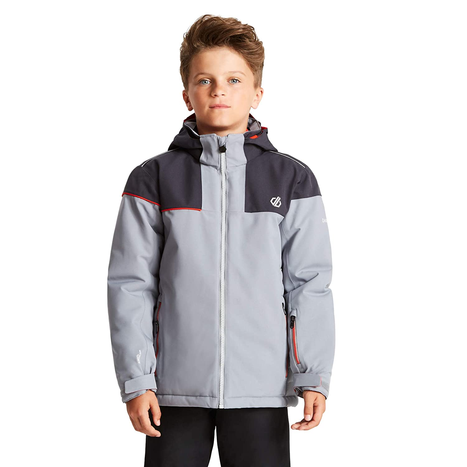 Dare 2b Childrens Entail Waterproof and Breathable High Loft Insulated Foldaway Hooded Ski and Snowboard Jacket With Snowskirt and Reflective Detail