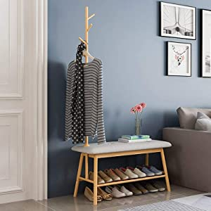 Bamboo Entryway Shoe Storage Bench with Coat Rack, Entryway Storage Rack with Clothes Tree for Hanging,3 in 1 Design