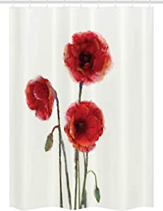 Ambesonne Watercolor Flower Stall Shower Curtain, Poppy Flowers Spring Blossoms in Watercolor Painting Effect Summer Garden Artwork Print, Fabric Bathroom Decor Set with Hooks, 54