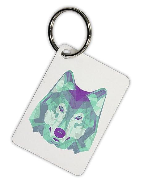 Amazon.com: TooLoud geométrico cabeza de lobo llavero de ...