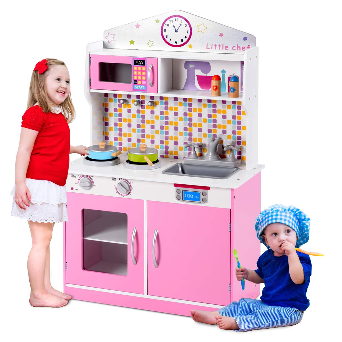 Costzon Kids Kitchen Playset, Wooden Cookware Pretend Cooking Food Set Toddler Gift Toy (Pink)