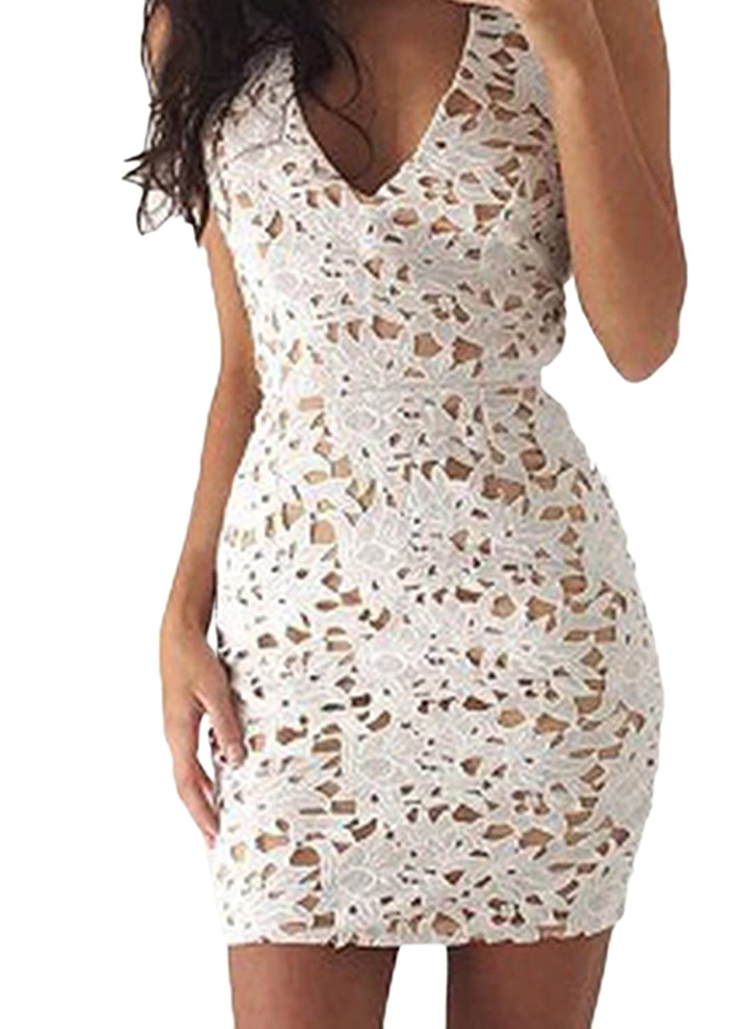 Rsuma Womens V Neck Sleeveless Lace Bodycon Mini Dress at Amazon Womens Clothing store: