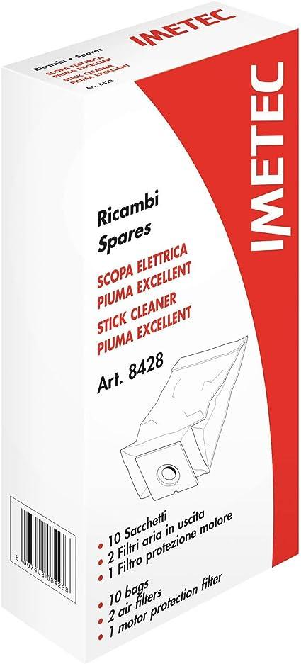 Imetec 8428 Kit Ricambi, 10 Sacchetti, 2 Filtri Aria, 1 Filtro Motore per Scopa Elettrica Imetec Piuma Excellent