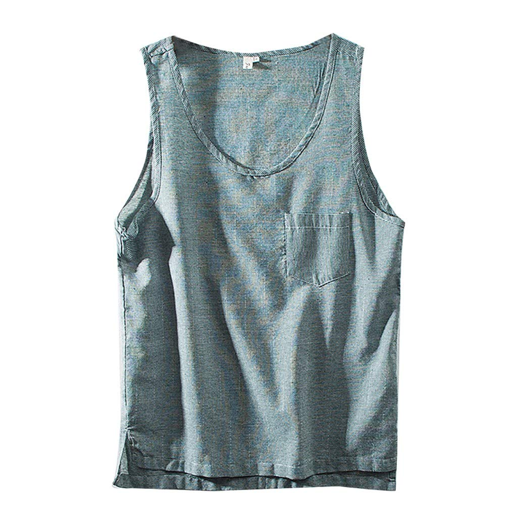 BOOMJIU Men's Retro Tank Tops Cotton Linen Solid Color Loose Sleeveless Vest Blouse Army Green