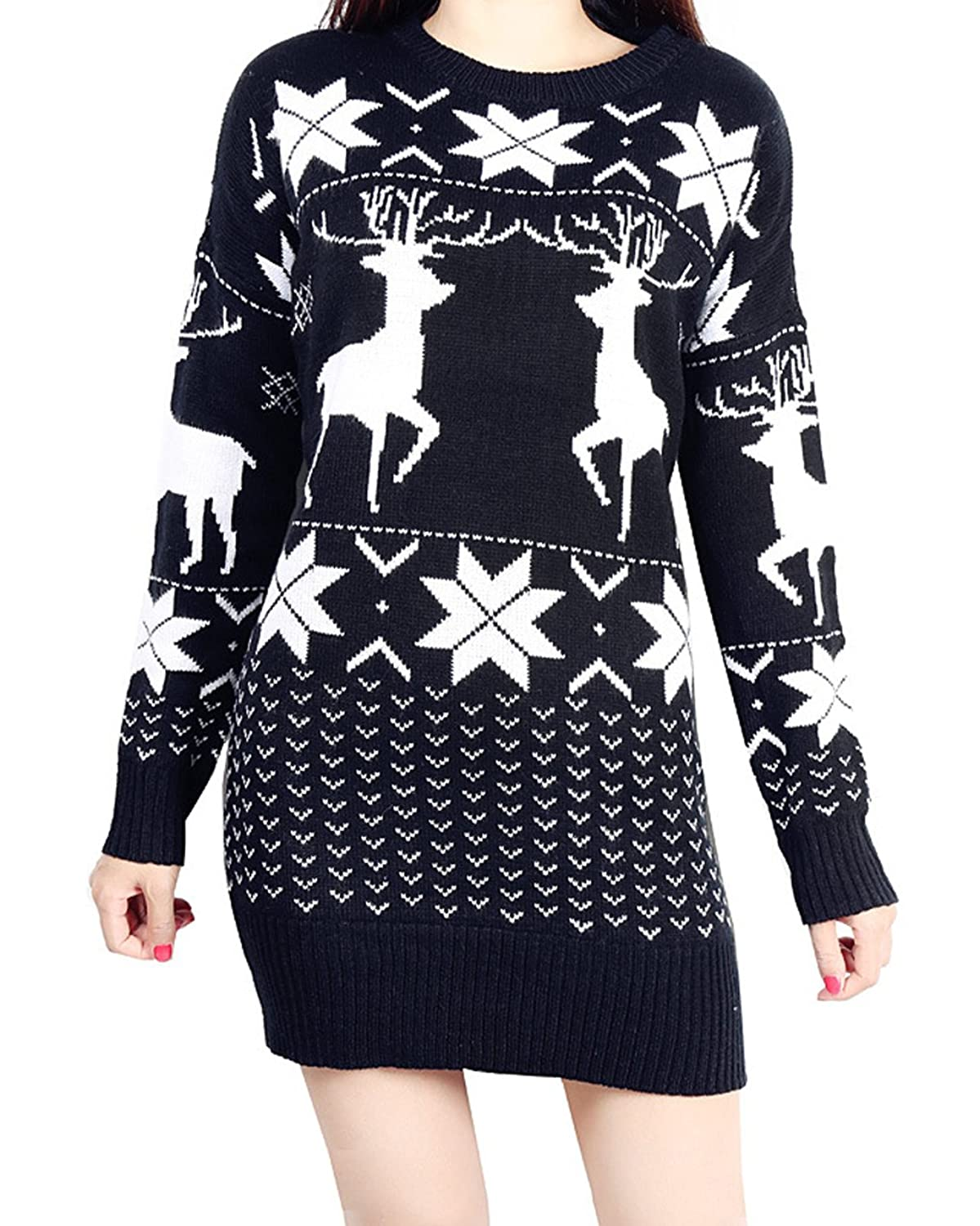 Vogue of Eden Women's Oversized Christmas Deer and Maple Leaves Knitted Sweater