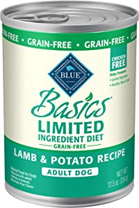 Blue Buffalo Basics Limited Ingredient Diet, Grain Free Natural Adult Wet Dog Food, 12.5 oz cans (Pack of 12)