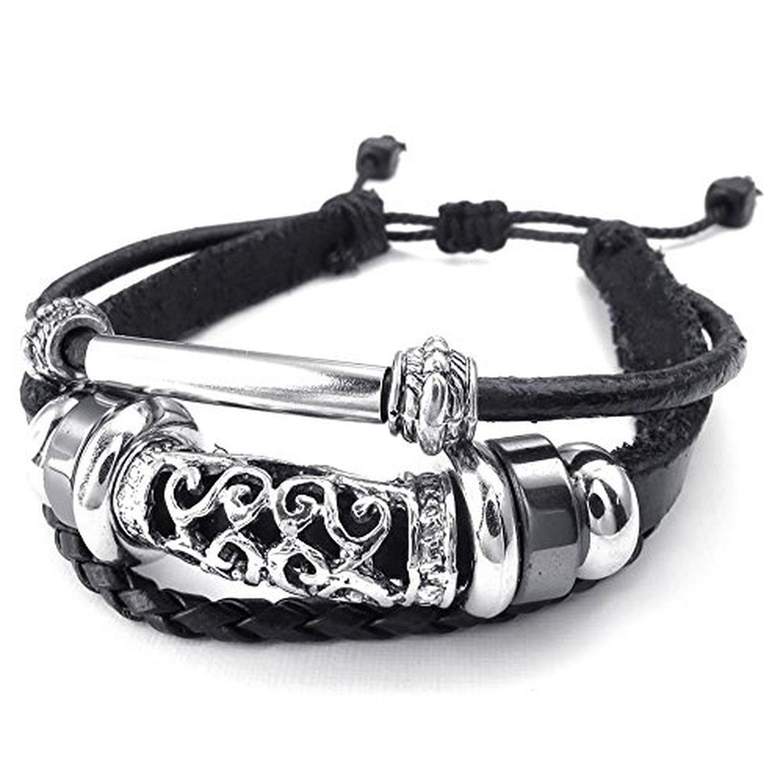 7-9 inch Adjustable Black CLJSTORE Jewelry Mens Womens Braided Leather Bracelet Vintage Charm Bangle