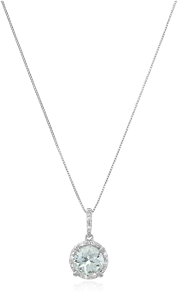 Amazon 10k white gold round aquamarine and diamond accent 10k white gold round aquamarine and diamond accent pendant necklace 18quot aloadofball Images