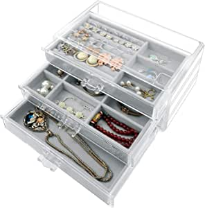 Jewelry Box for Women 3 Drawers, SWAWIS Acrylic Jewelry Box, Clear Jewelry Organizer Box, Velvet Jewelry boxes for Earring Necklace Bracelet, Jewelry Storage Holder Organizer