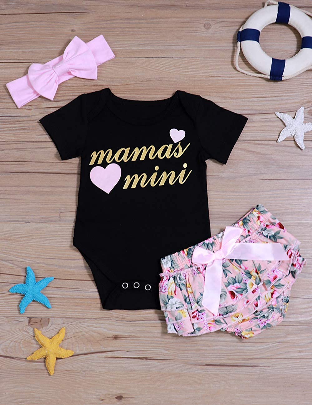 Infant Baby Boys Girls Clothes 3PCS Outfits Romper Shorts Headband for Daddy and Mommy