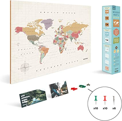 Miss Wood Tropical L, Mapa del Mundo en Corcho, 45x60cm, L (45 x ...