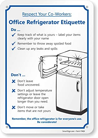office kitchen etiquette signs