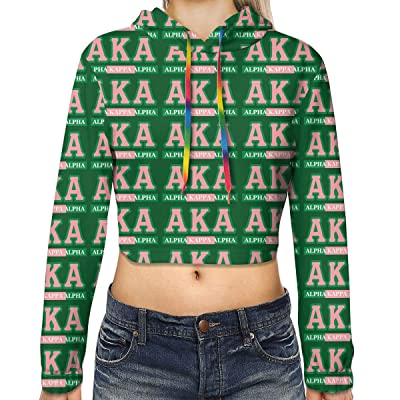 Alpha Kappa Alpha Womens Pullover Crop Top Hoodie Sweatshirt at Women's Clothing store