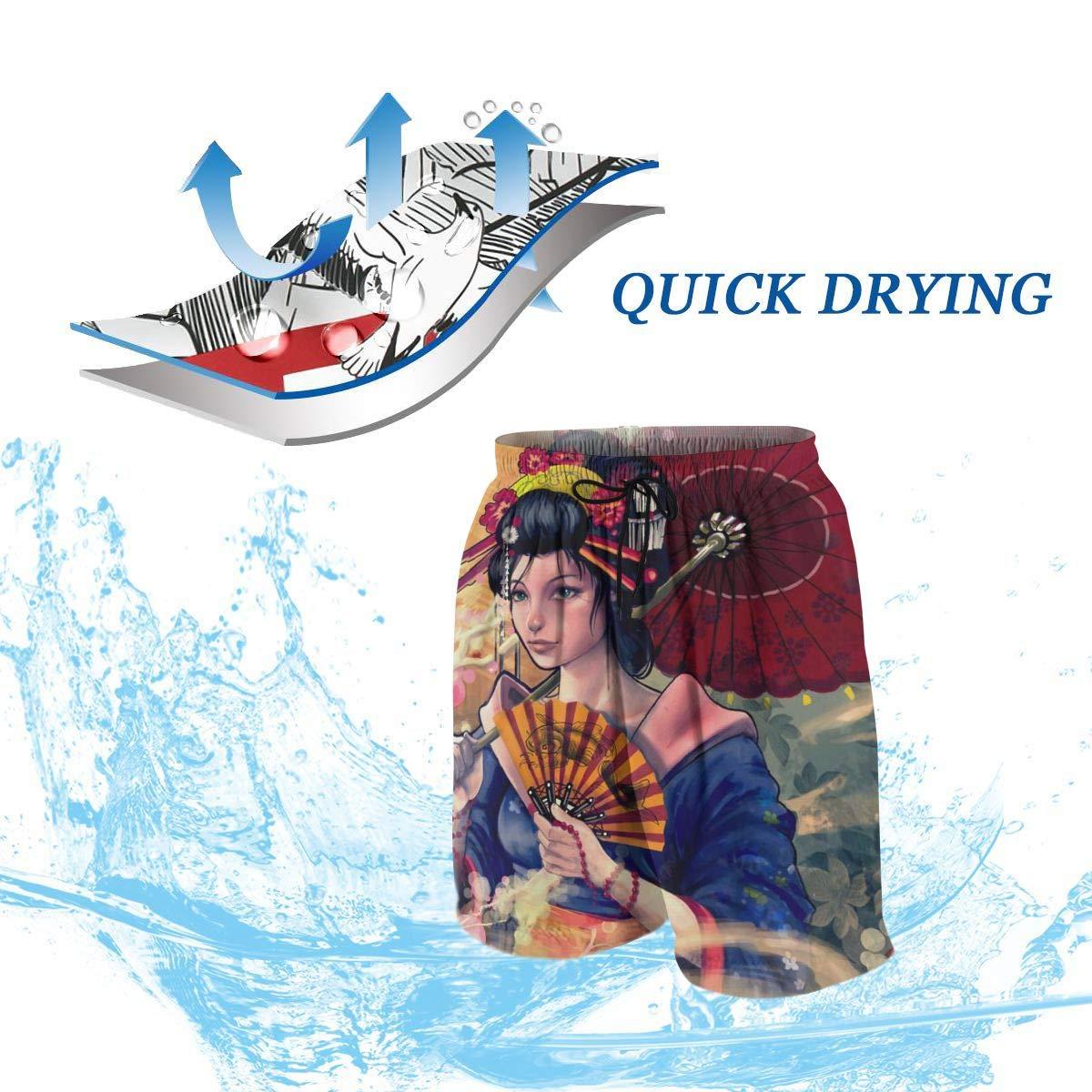 QZqDQ Beautiful Japanese Geisha Teenagers Fashion Quick-Drying Beach Pants