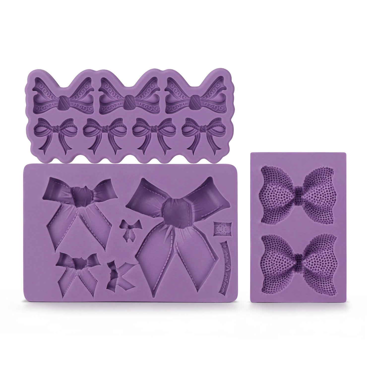 Bow Fondant Mold, Beasea 3pcs Candy Sugar Craft Fondant DIY Gumpaste Cake Decoration Cupcake Decorating Toppers Clay Purple
