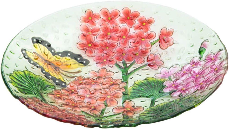 "Goose Creek 18""Decorative Birdbath Pebble Glass Bird Bath Bowl, Butterfly Floral"
