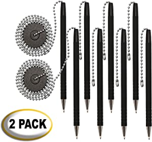 "Secure-A-Pen with Adhesive, 26"" Ball Chain, 2 Pack of 4 Pens (8 Pens),Rubber Grip, Black Ink and Easy To Refill"