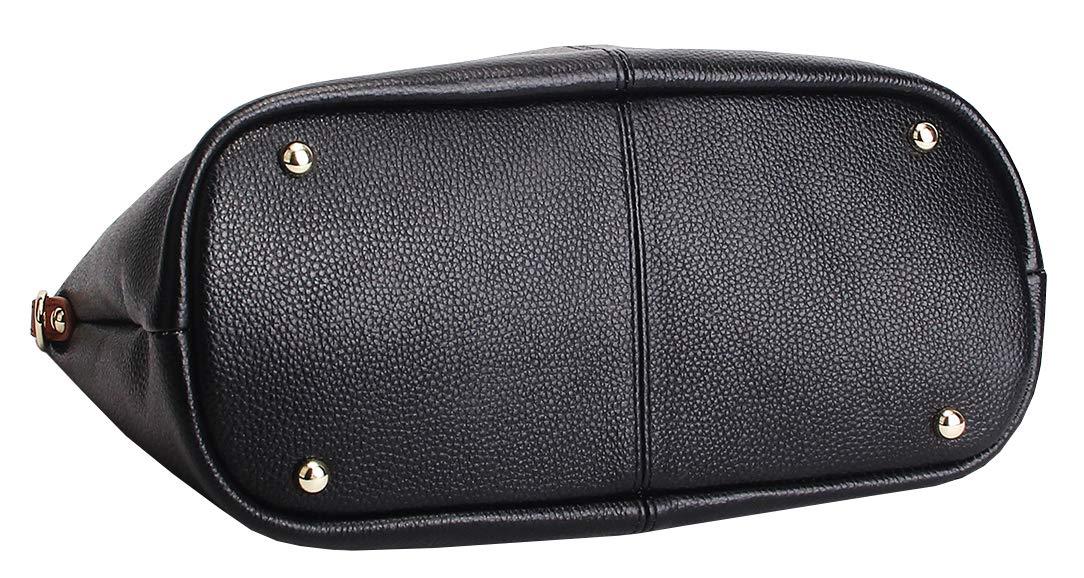 Molodo Womens Satchel Hobo Top Handle Tote Geuine Leather Handbag Shoulder Purse,Black,Large by Molodo (Image #4)