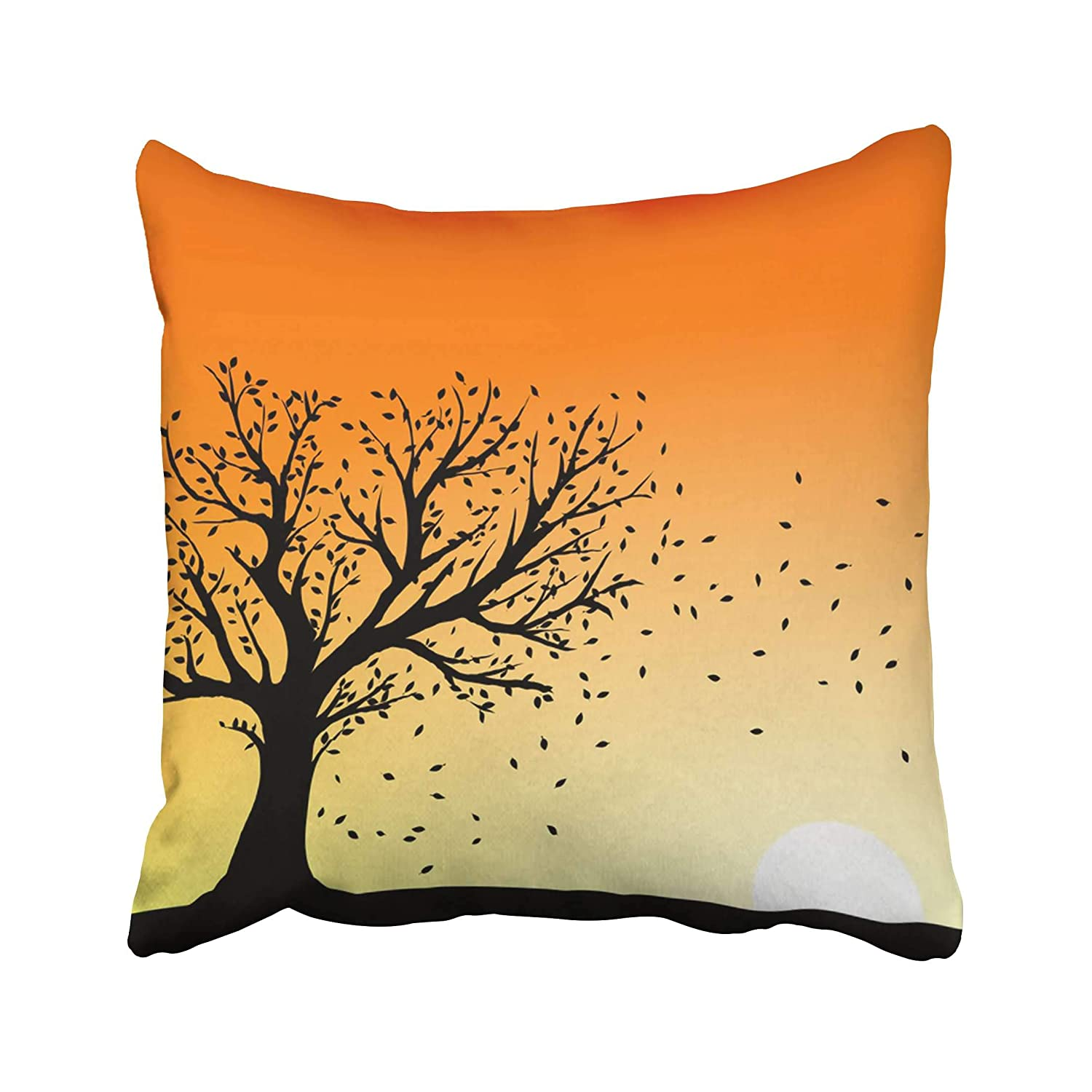 Emvency Orange Leaf Autumn Tree Silhouette In Sunset Wind Blowing Away The  Falling Leaves Sky Fall Graphic Season Throw Pillow Covers 18x18 Inch  Decorative ...