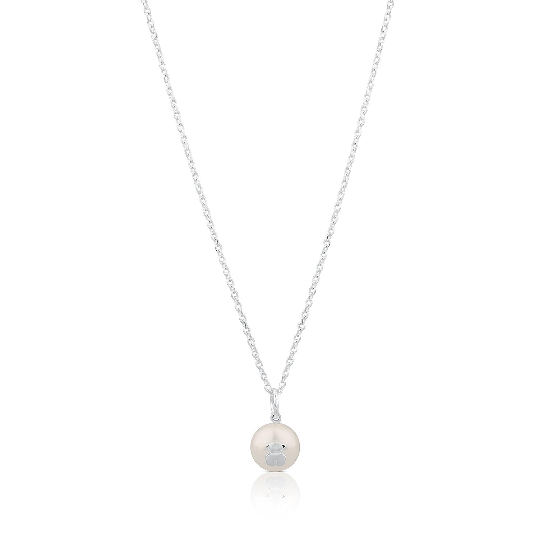 TOUS Women Sweet Dolls White Pearl Pendant Necklace of Length 45cm 517094500
