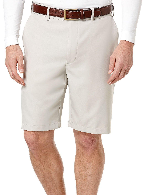 PGA TOUR Men's Expandable Flat Front Short, Silver Cloud, 40 by PGA TOUR
