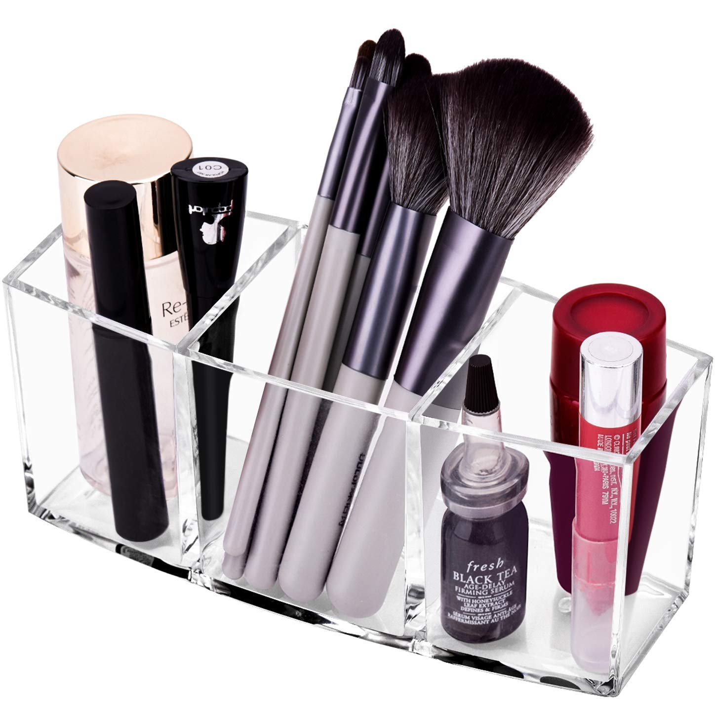 CACASO Clear Makeup Brush Organizer, Premium Acrylic Makeup Brush Holder Organizer 3 Compartments, Makeup Brush Display Holder Cosmetic Storage (Style2)