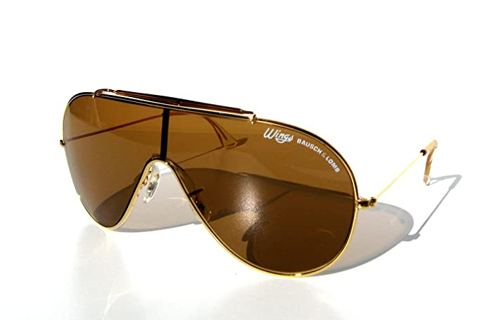 dc93d00496 Image Unavailable. Image not available for. Colour  USA Bausch   Lomb Ray  Ban Wings Aviator Sunglasses   Gold ...