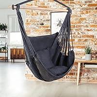 Gardeon Hammock Chair Brazilian Camping Hammock Swing with 2 Seat Cushions for Indoor Outdoor Garden Patio - Grey