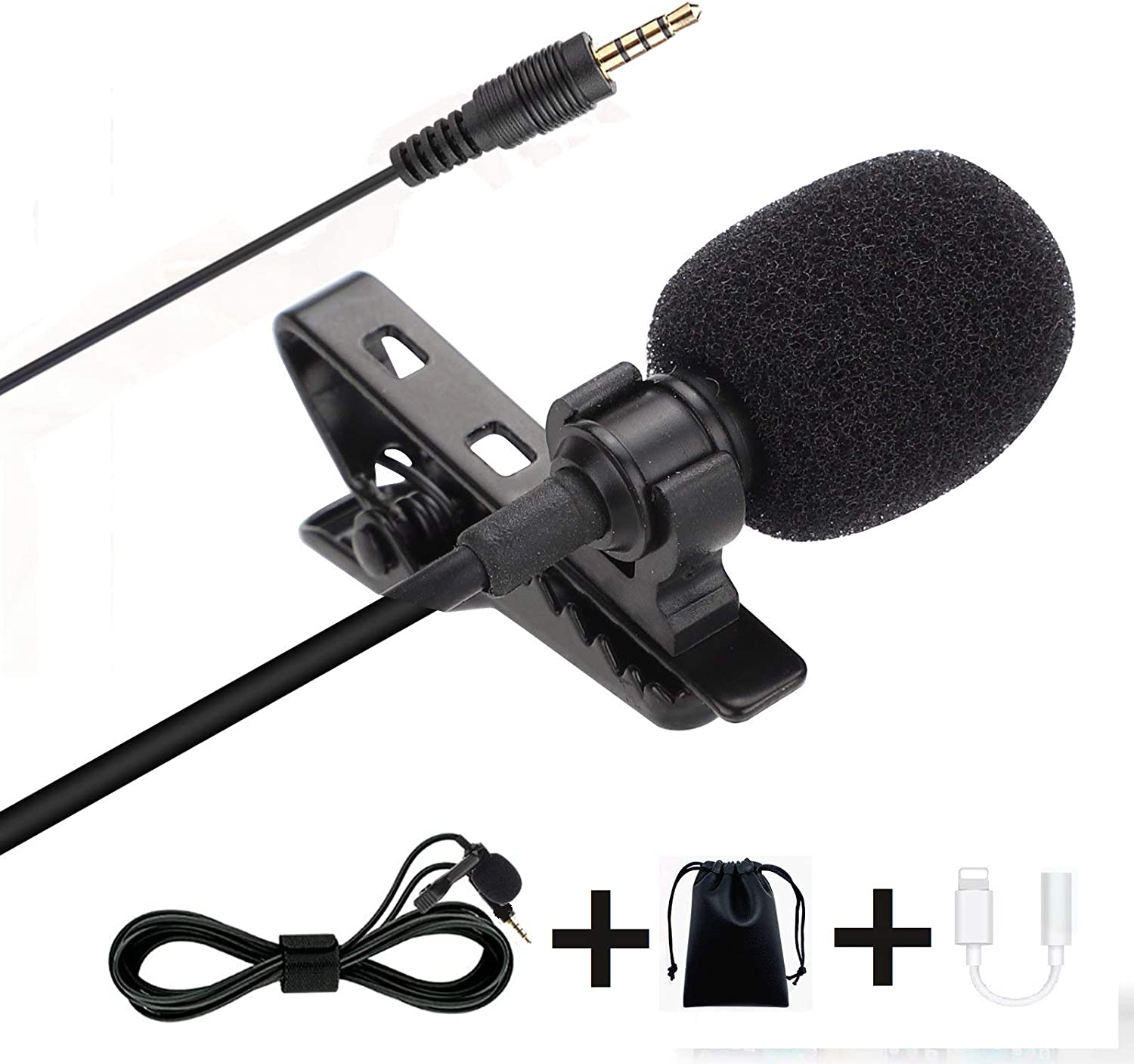 Voice Professional Lavalier Lapel Microphone, Omnidirectional Mic for Desktop PC Computer, Smartphone, iPhone, YouTube, GoPro, Bloggers, Camcorder for Podcast, Vlogging, and DJs