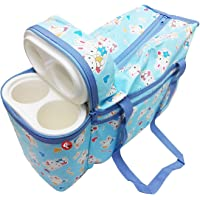 GURU KRIPA BABY PRODUCTS ® Presents New Born Baby Multipurpose Mother Bag Cum Portable Thermal Warmer Cyan With Holder Dipper Changing Multi Compartment For Baby Care And Maternity Handbag Messenger Bag Diaper Nappy Mama Shoulder Bag Diaper With Warmer Bag With 2 Bottle Holders Keep Baby Bottles Warm With 2 For Baby Multipurpose Waterproof Mother Bag Diaper Bag (Sky Blue)