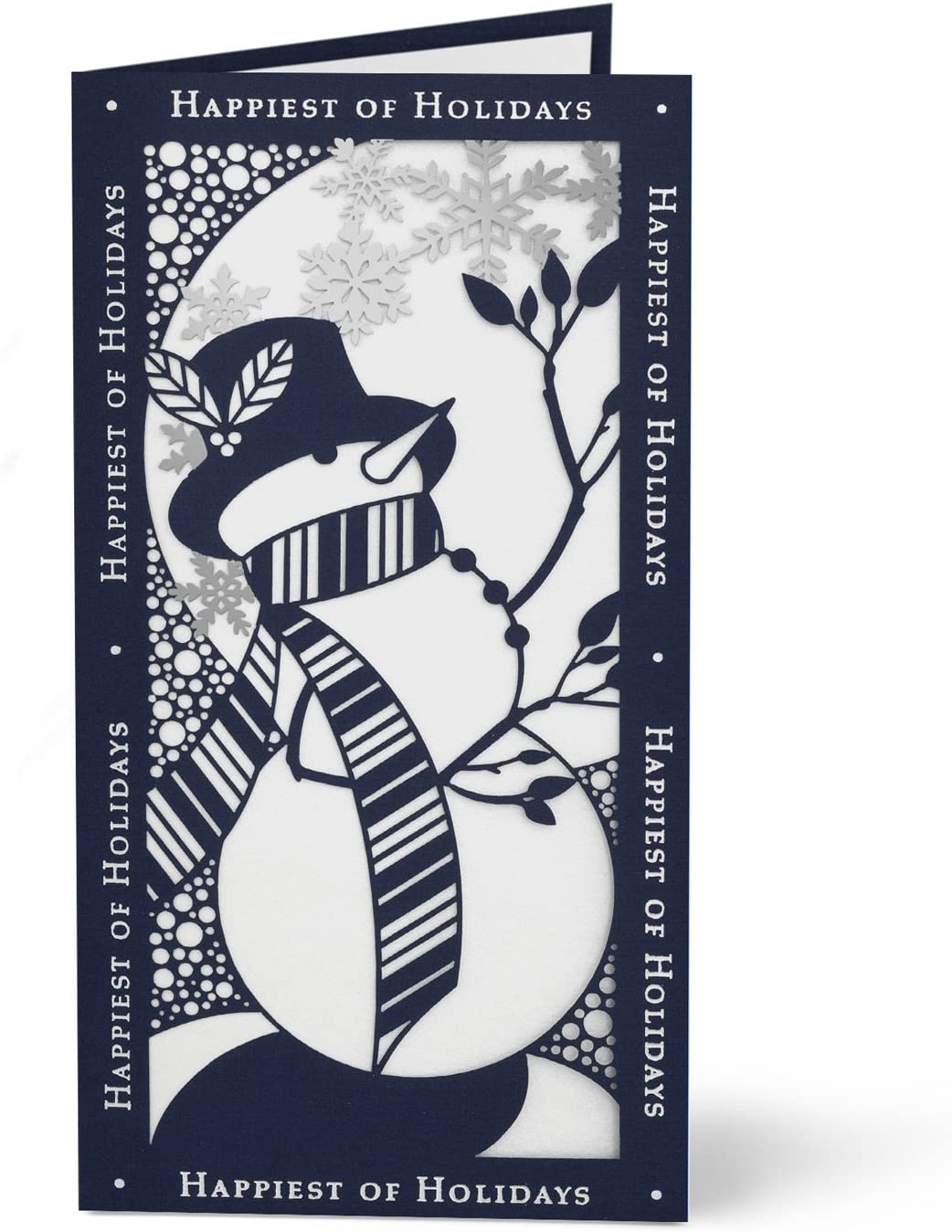 Laser Die-Cut Snowman Hallmark Business Holiday Cards for Customers Pack of 25 Greeting Cards