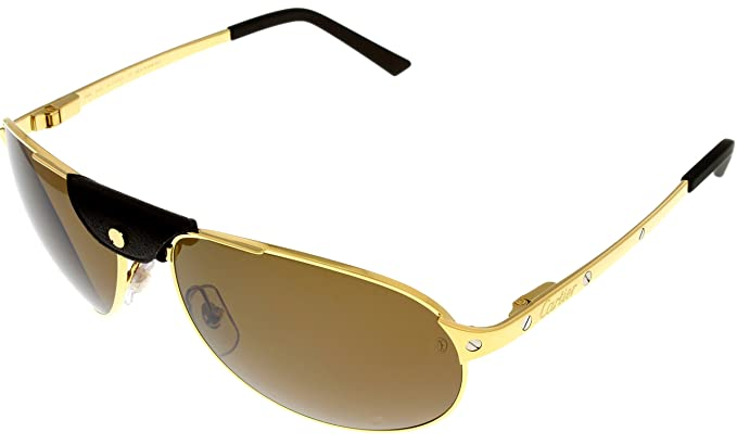 7aed50afc58 Image Unavailable. Image not available for. Colour  Cartier Edition SANTOS-Dumont  Sunglasses Aviator Unisex Gold Polarized T8200889