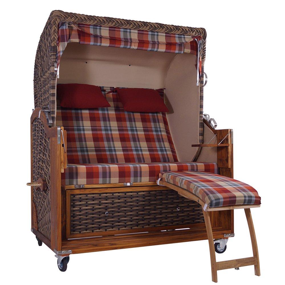 strandkorb kampen 2 5 sitzer snake 48823 polyrattan teakholz g nstig online kaufen. Black Bedroom Furniture Sets. Home Design Ideas