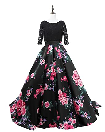 WiWiBridal 2018 Womens Floral Print Long Prom Dresses Lace Sleeves A-line Evening Gowns