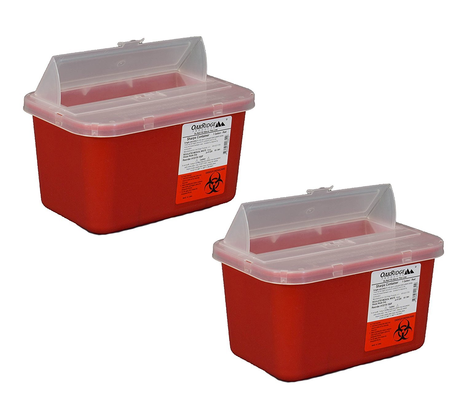 One Gallon Sharps Containers with Pop Up Lid (Two Pack) by OakRidge Products