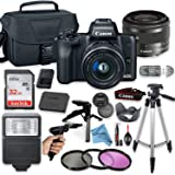 Canon EOS M50 Mirrorless Digital Camera (Black) with 15-45mm STM Lens + Deluxe Accessory Bundle + Inspire Digital Cloth