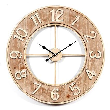 Lommer 60CM Grande Madera Reloj Pared Silencioso Vintage Redondo Reloj de Pared para Cocina, Salón